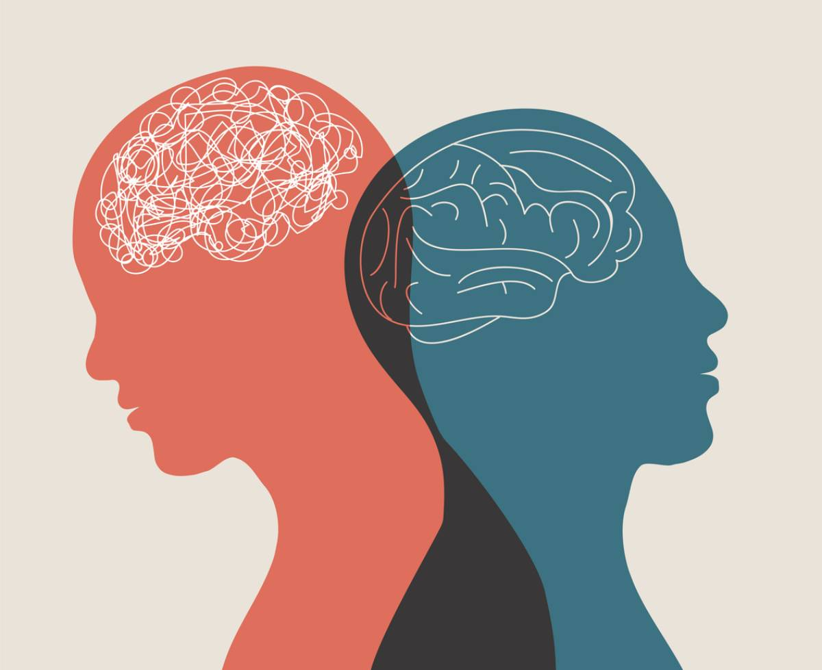 Illustration of two heads representing mental illness.